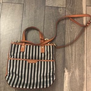 Henri Bendel Canvas Striped Cross Body Bag